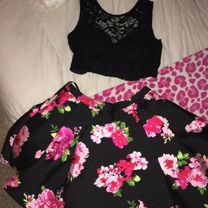 Short floral two piece homecoming dress